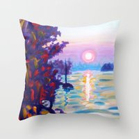 Gold Island Sunset  Throw Pillow