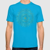 Gold Hand Drawn Mandala Mens Fitted Tee Teal SMALL