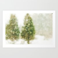 Snow Falling On Pines Art Print