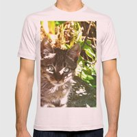 Cat in the shadows Mens Fitted Tee Light Pink SMALL