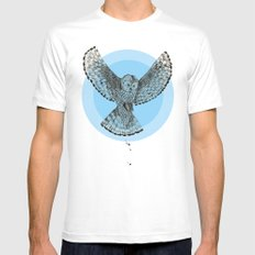 owl White SMALL Mens Fitted Tee
