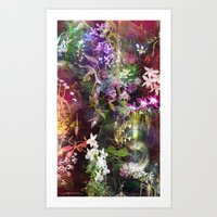 Orchids Waterfall Art Print