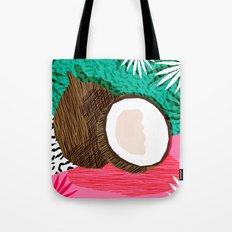 Bada Bing - memphis throwback tropical coconuts food vegan nature abstract illo neon 1980s 80s style Tote Bag