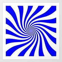 Swirl (Blue/White) Art Print