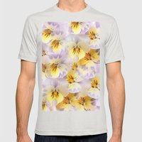 Pastel Vintage Pansies 2 Mens Fitted Tee Silver SMALL