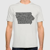 Typographic Iowa Mens Fitted Tee Silver SMALL