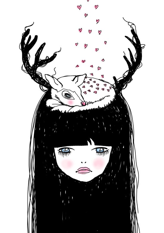 Bambi & moi Art Print