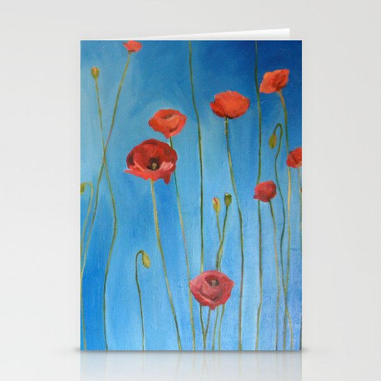 Blue Poppies Stationery Card