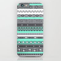 iPhone Cases featuring Tiffany Turquoise Aztec Print by RexLambo