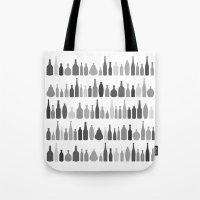 Bottles Black and White on White Tote Bag