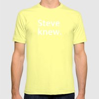 STEVE KNEW. Mens Fitted Tee Lemon SMALL