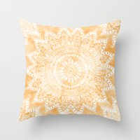 TANGERINE BOHO FLOWER MANDALA Throw Pillow