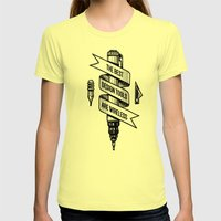 Old School Designer Womens Fitted Tee Lemon SMALL