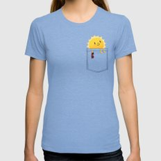 Pocketful of sunshine Womens Fitted Tee Tri-Blue SMALL