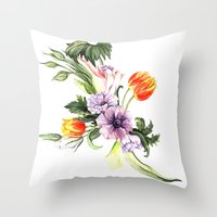 Watercolor spring floral pattern Throw Pillow