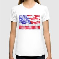 American Flag Womens Fitted Tee White SMALL