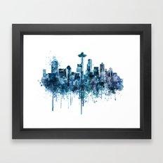 Seattle Skyline monochrome watercolor Framed Art Print