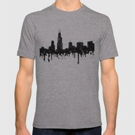 Watercolor Chicago Skyli… Mens Fitted Tee Athletic Grey SMALL