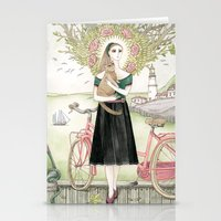 Girl And Cat With Pink B… Stationery Cards