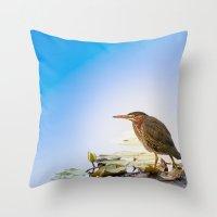 Crowned Night-Heron- Ham… Throw Pillow