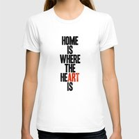 HOME IS WHERE THE HE(ART… Womens Fitted Tee White SMALL