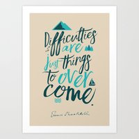 Shackleton Quote on Difficulties - Illustration Art Print
