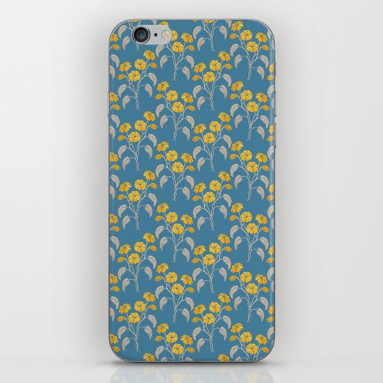 Flowers Blue Pattern iPhone & iPod Skin
