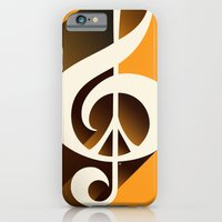 iPhone & iPod Case featuring Retro Shadow Music & Peace, Orange by Inspireuart