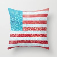 Red, White, And Glitter … Throw Pillow