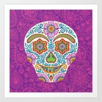 Flower Power Skully Art Print