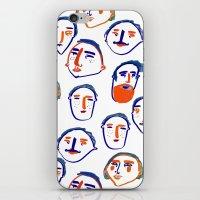 head, faces, face print, face art, people illustration,  iPhone & iPod Skin