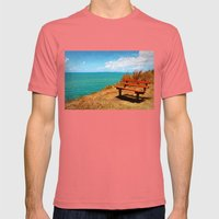 Park Bench On The Headland Mens Fitted Tee Pomegranate SMALL