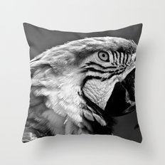 Black & White Parrot  Throw Pillow