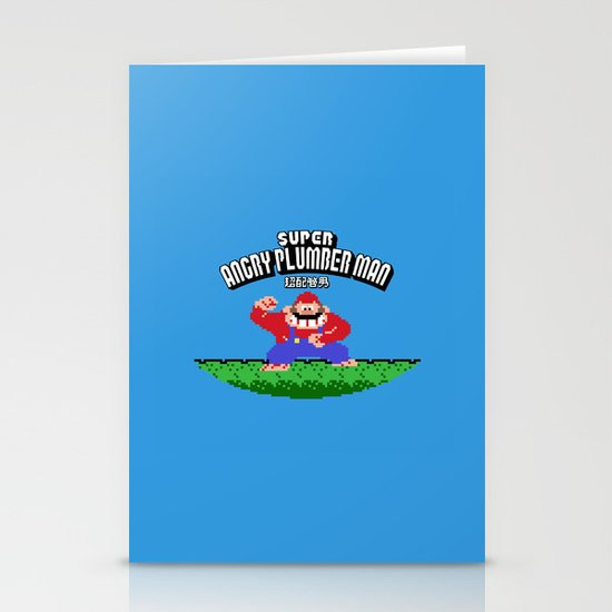 Super Angry Plumber Man Stationery Card