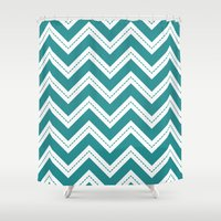Turquoise Chevron Shower Curtain
