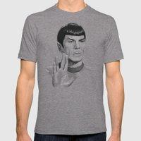 Spock Portrait Star Trek Mens Fitted Tee Tri-Grey SMALL