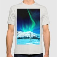 Aurora BorealiS Mens Fitted Tee Silver SMALL