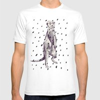 Meerkat in the Rain Mens Fitted Tee White SMALL