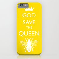 iPhone Cases featuring God Save the Queen (Bee) by Candace Choi