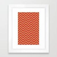 Chevron - Blue Orange Red Framed Art Print
