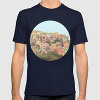 Colorful Houses Mens Fitted Tee Navy SMALL