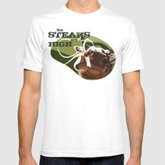 Steaks Are High SMALL White Mens Fitted Tee