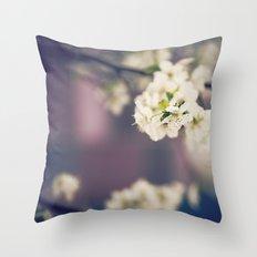 White Floret Throw Pillow
