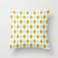 Sky Blue And Gold Argyle Throw Pillow