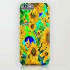 Decorative Blue-Green Yellow Butterflies Sunflower Pattern Slim Case iPhone 6s