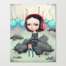 Girl Pouting On A Cloud Canvas Print