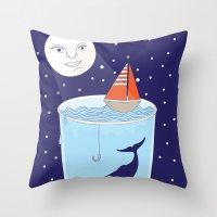 Full Waterglass Moon - Night Fishing Throw Pillow
