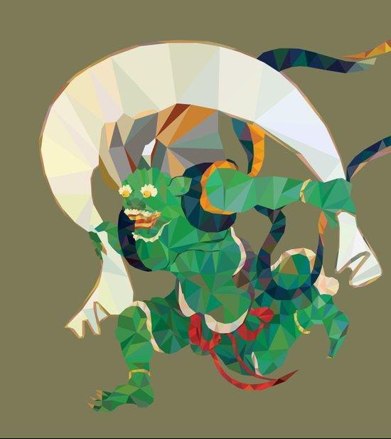 polygonal representation of Fūjin (japanese god of wind) Art Print