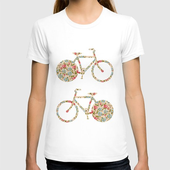 Whimsical cute girly floral retro bicycle T-shirt