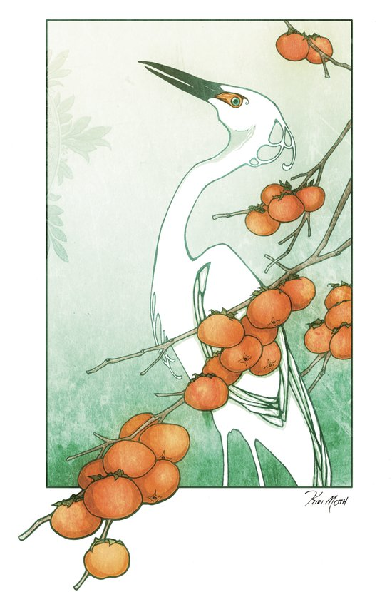 Egret and Persimmons Art Print